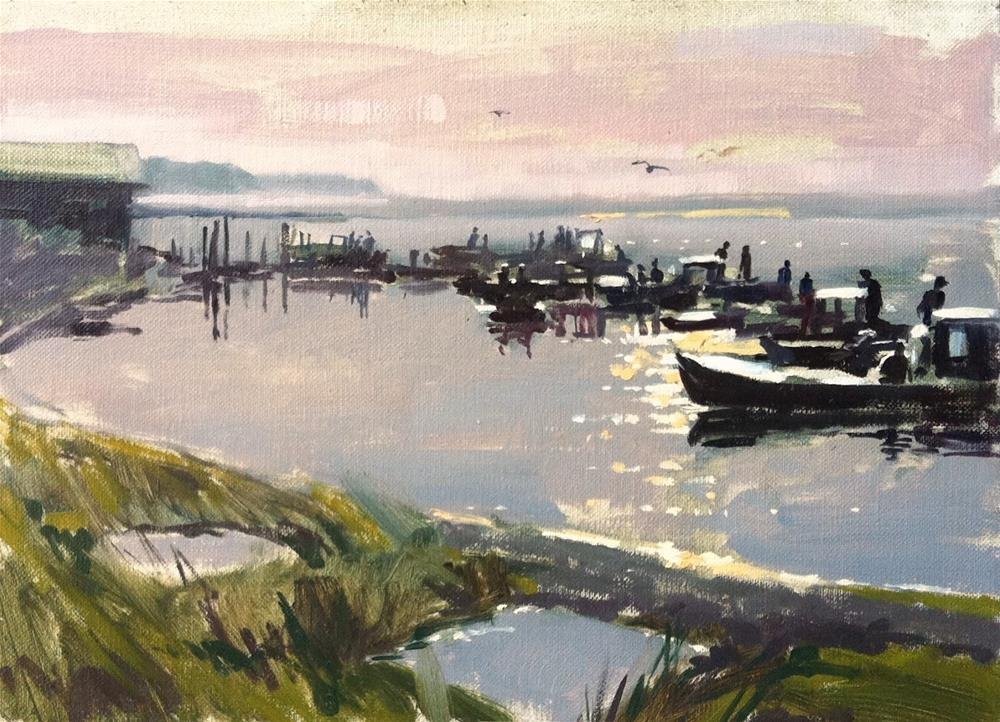 """Oyster boats at sunrise"" original fine art by Haidee-Jo Summers ROI"