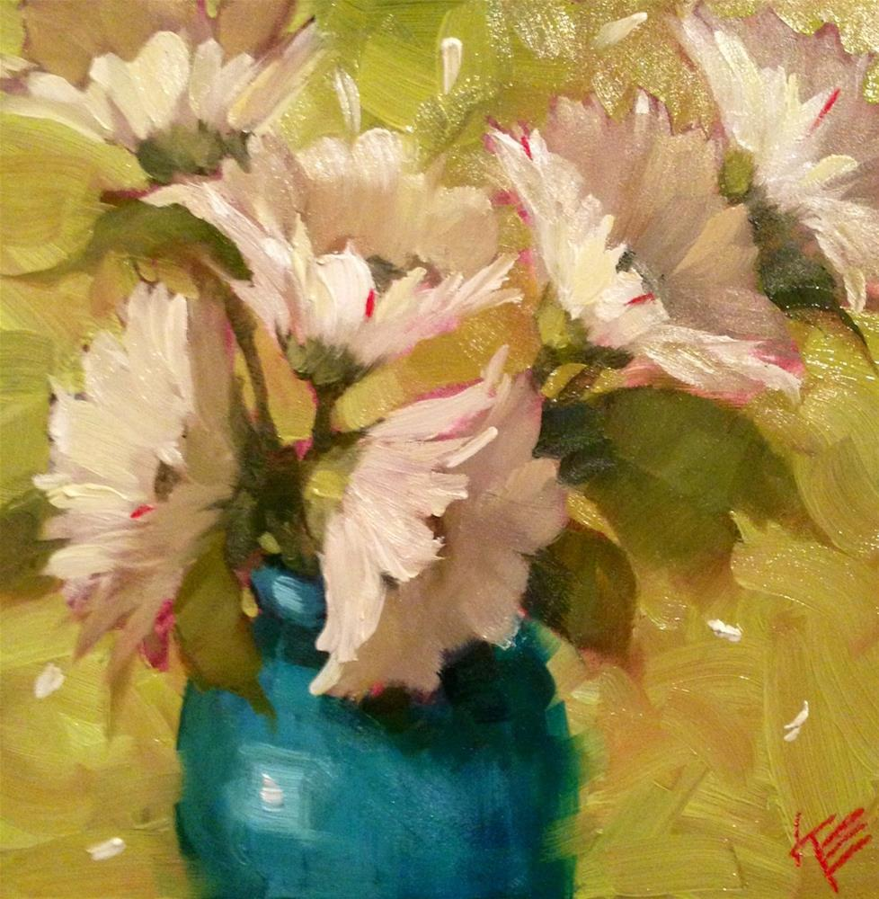 """Daisies on Lime"" original fine art by Krista Eaton"