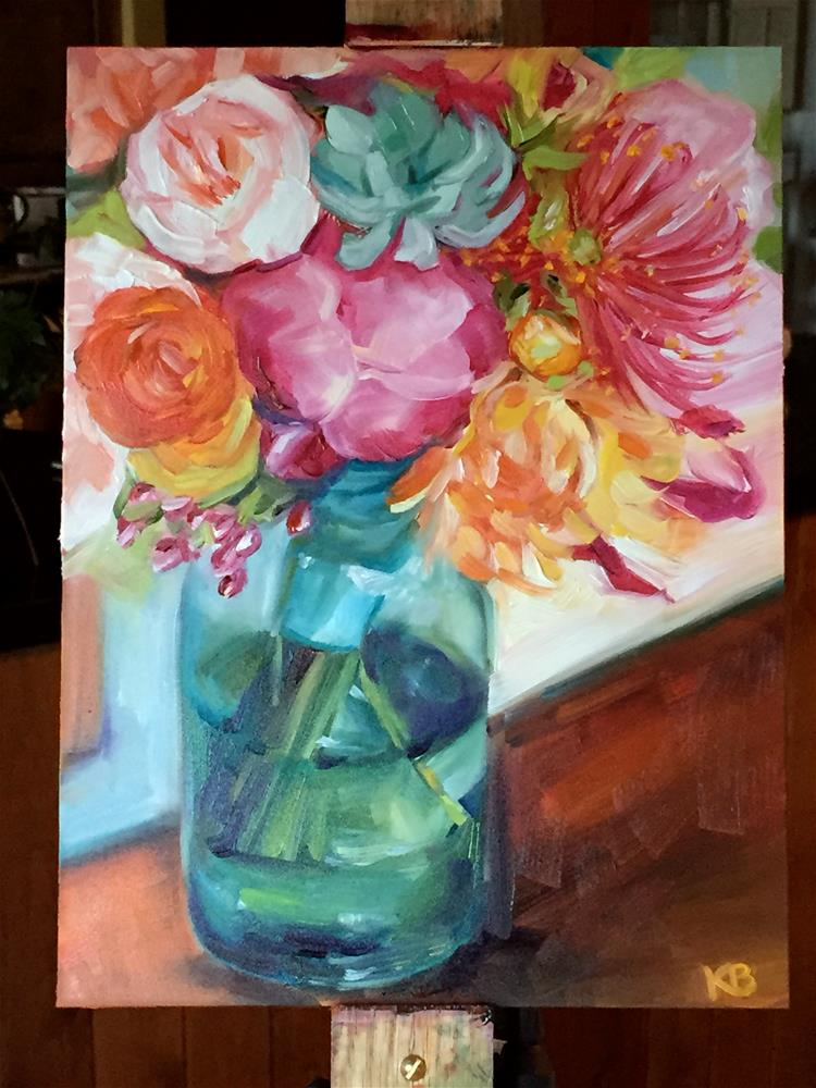 """Floral Bouquet in a turquoise jar"" original fine art by Kim Boyer"