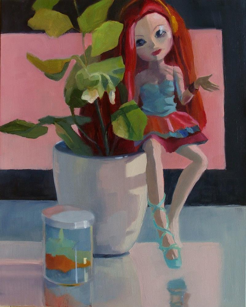 """Garden Peas with Doll"" original fine art by Rebecca Helton"