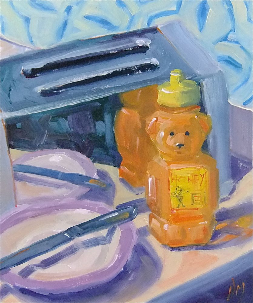"""toast with Honeybear"" original fine art by Nora MacPhail"