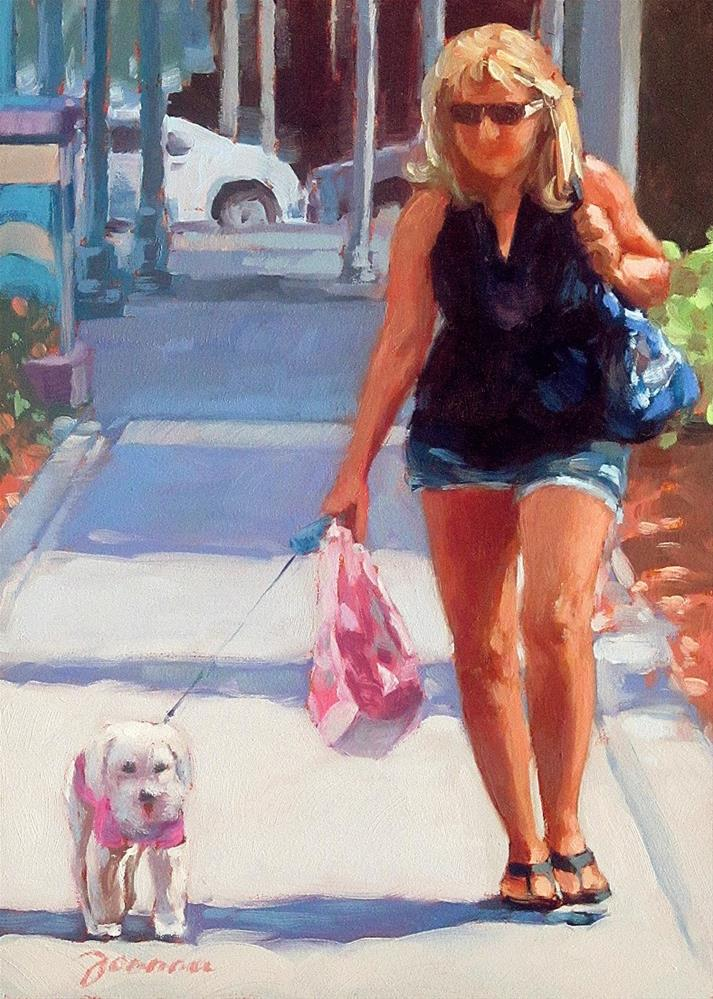 """Gone Shopping--Series Painting of Dog & Owners"" original fine art by Joanna Bingham"