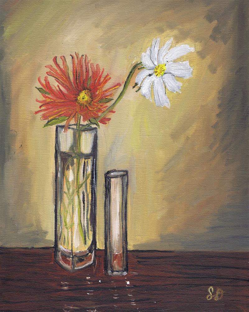 """Two Flowers and Glass Vases"" original fine art by Samara Doumnande"