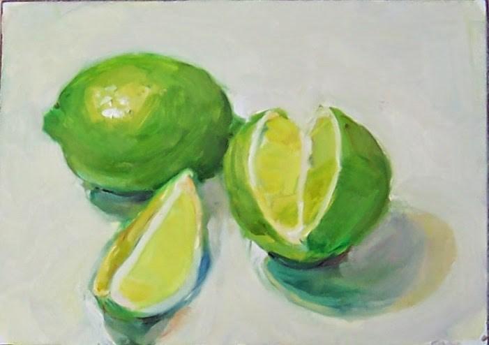 """""""Limes,still life,oil on gessoed board,price,$200"""" original fine art by Joy Olney"""