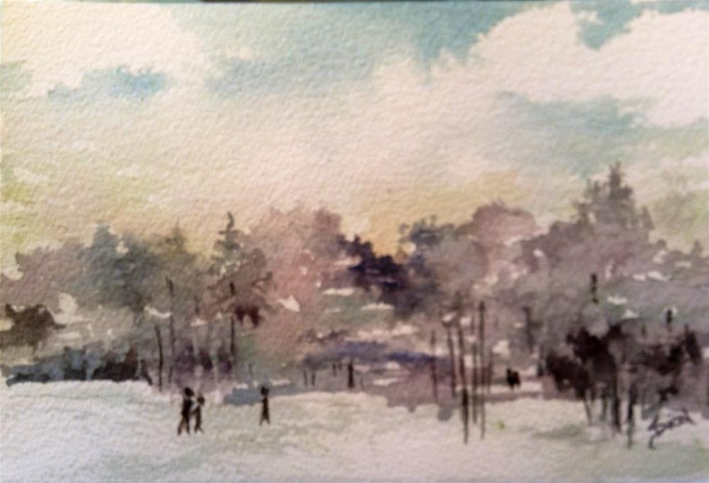 """Winter Walkers"" original fine art by Sue Dion"