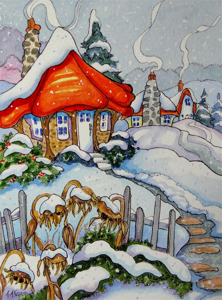 """""""Snow on the Sunflowers Storybook Cottage Series"""" original fine art by Alida Akers"""