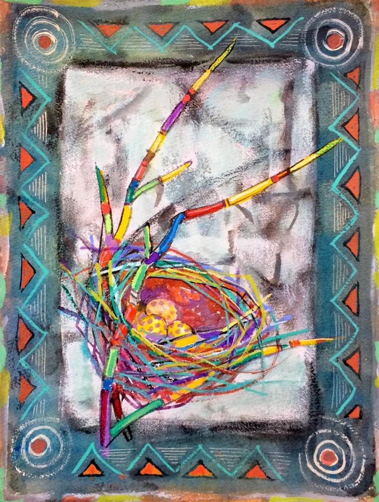 """Decorative Nest - workshop.  Day 18"" original fine art by Julie Ford Oliver"
