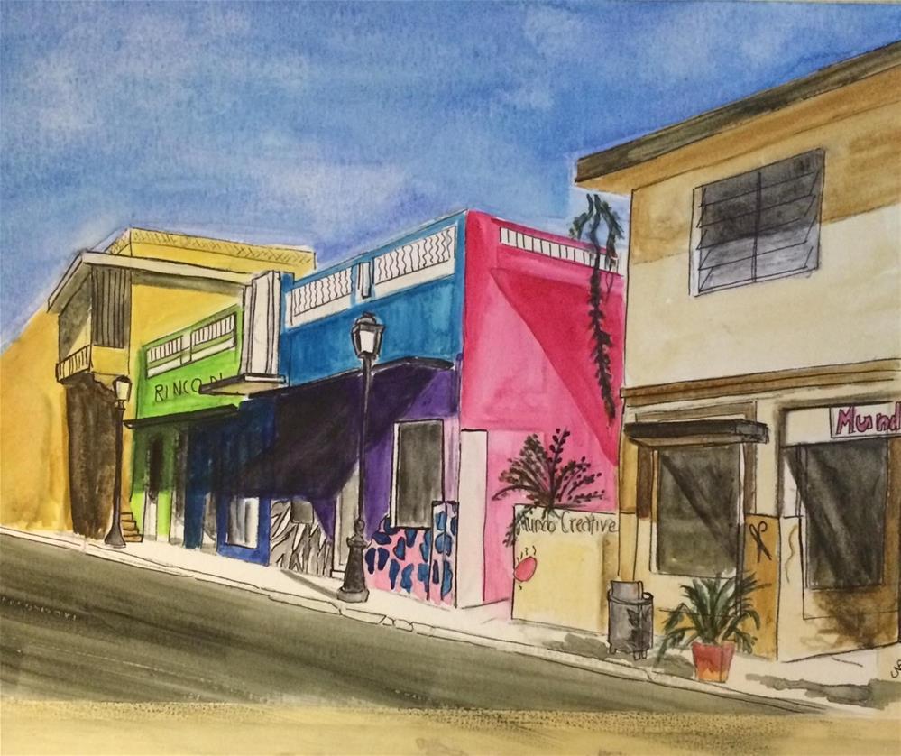 """""""Funky Rincon Main Street 13 x 16' (unframed $55)"""" original fine art by Nancy Beard"""