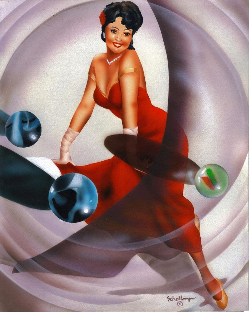 """Pin Up in Red with Marbles"" original fine art by Fred Schollmeyer"