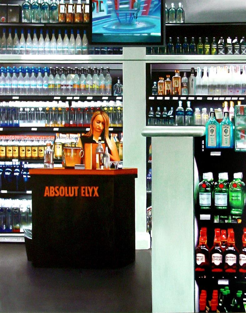 """Liquor Store- Painting Of Woman Selling Liquor"" original fine art by Gerard Boersma"