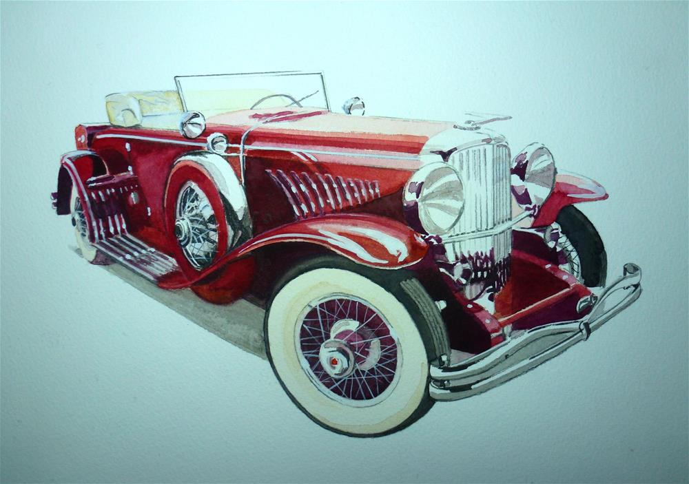 """Duesenberg Model J Roadster 1929"" original fine art by John Monney"
