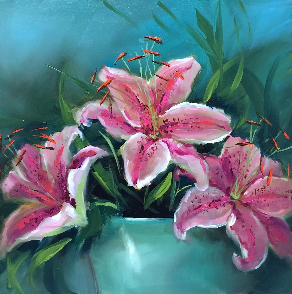 """Butterfly Breakfast Pink Stargazers - Nancy Medina Art Classes and Videos"" original fine art by Nancy Medina"