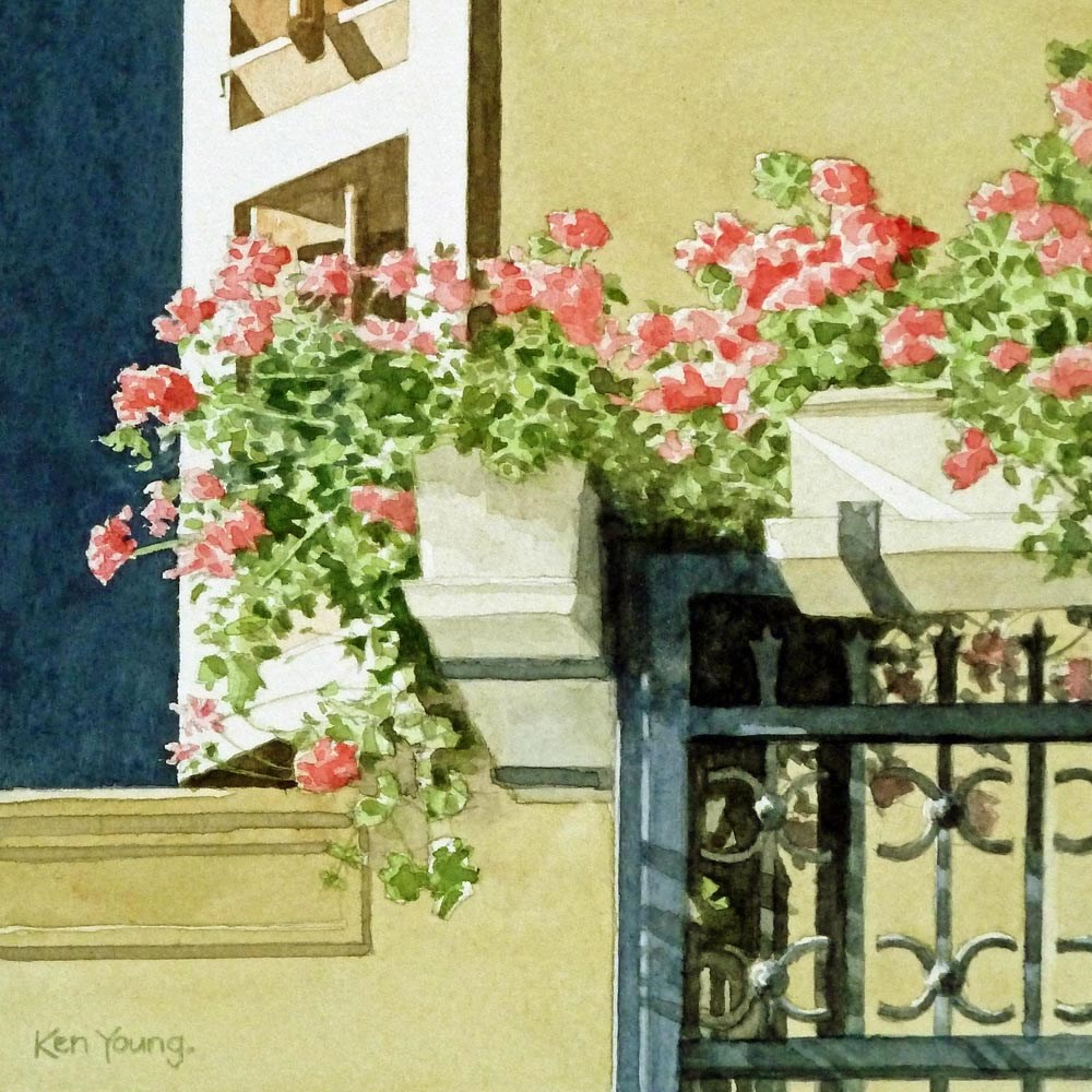 """Balcony Boxes"" original fine art by Ken Young"