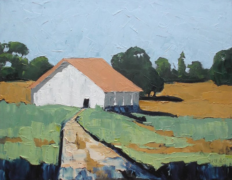 """California Farm Barn"" original fine art by lynne french"