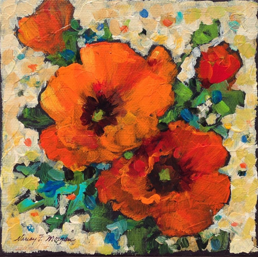 """Two Poppies"" original fine art by Nancy F. Morgan"
