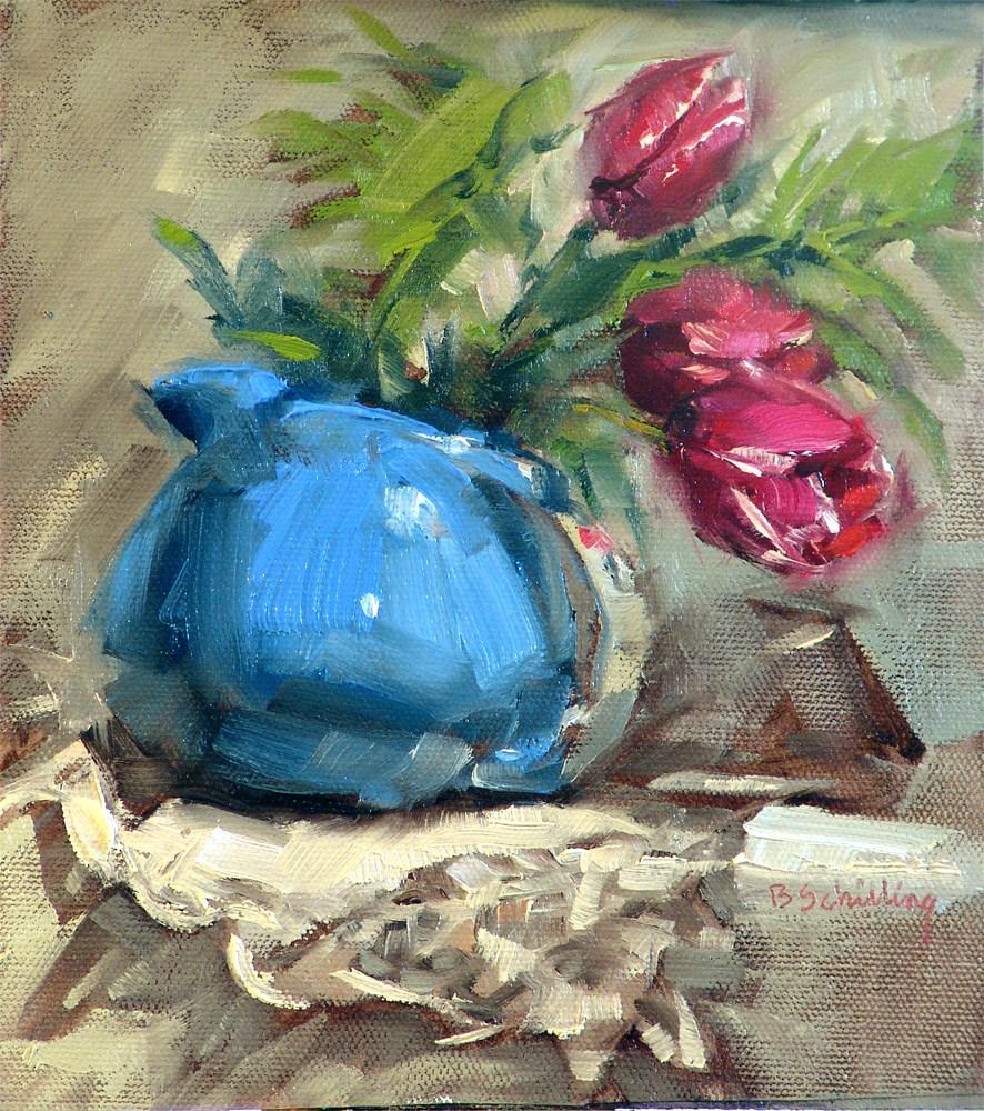 """Pitcher of Tulips"" original fine art by Barbara Schilling"