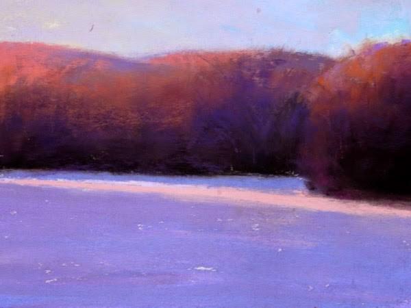 """Frozen, Spring Meadow Lake"" original fine art by Carolyn Caldwell"