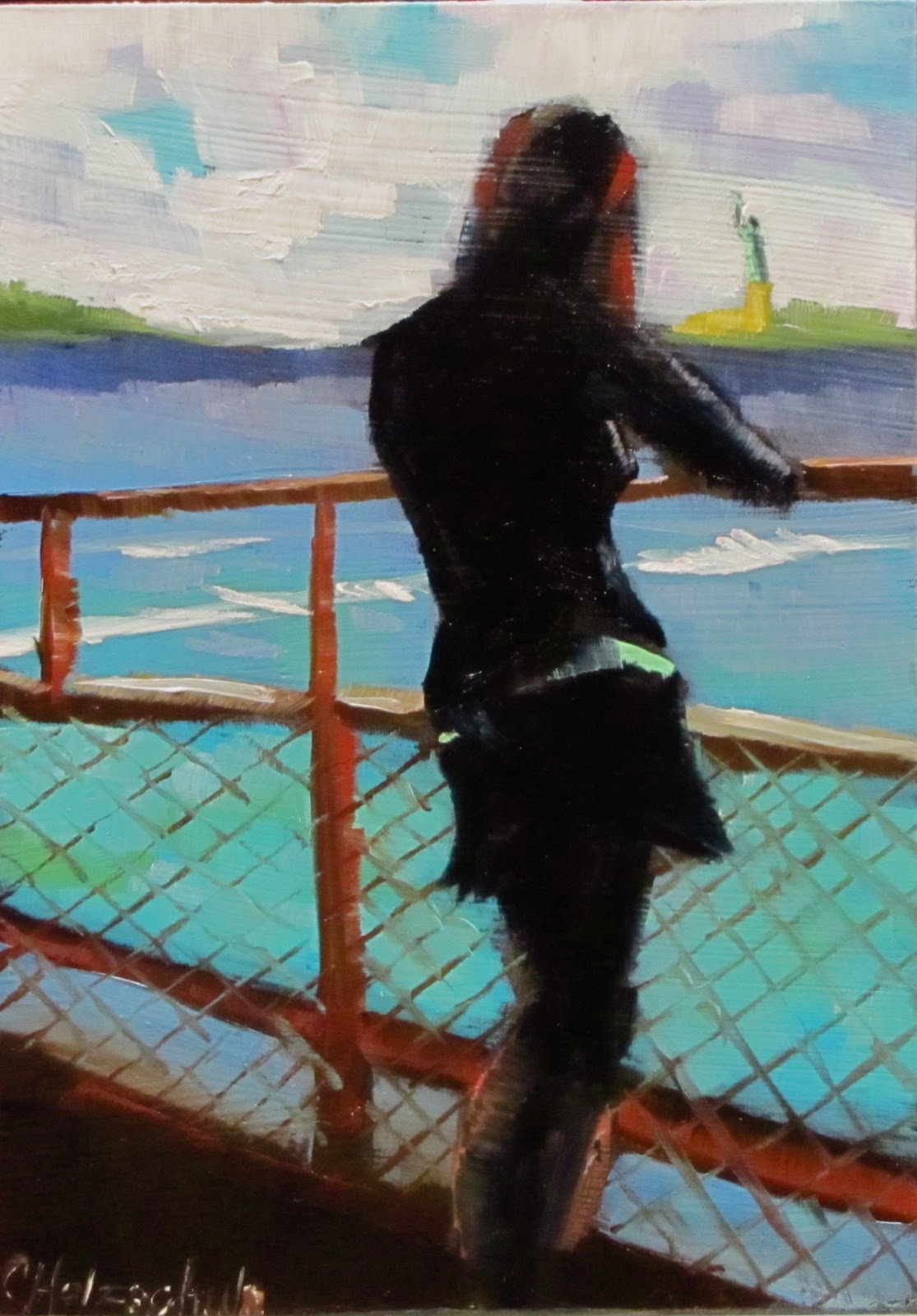 """It's Free    oil 5x7  #373  figurative"" original fine art by Christine Holzschuh"