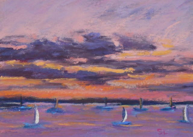 """Sails at Sunset"" original fine art by Sharon Lewis"