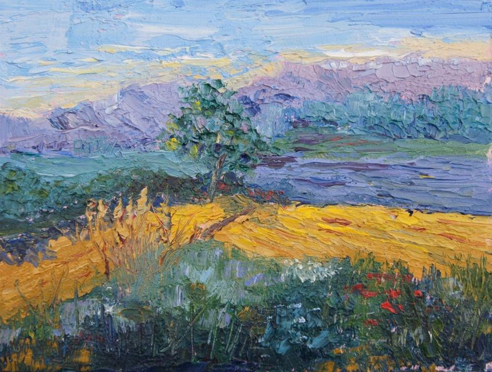 """Provence landscape knife painting #4 by Marion Hedger"" original fine art by Marion Hedger"
