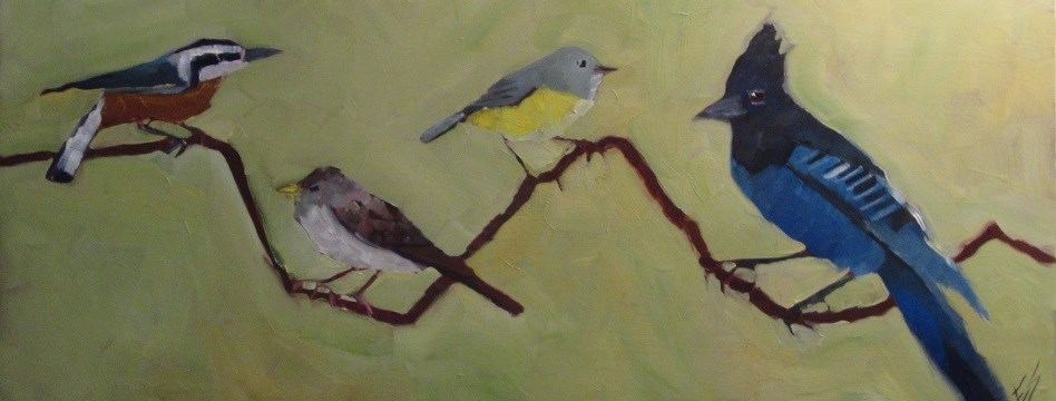 """Northwest Birds On A Branch"" original fine art by Elizabeth See"