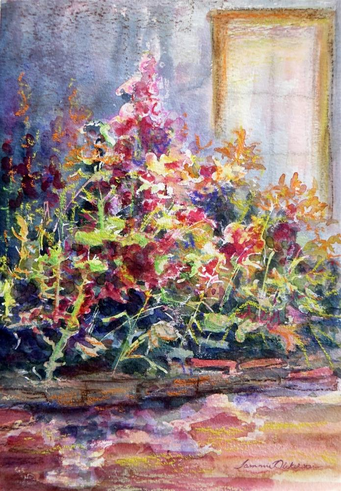 """Hollyhock Garden"" original fine art by Tammie Dickerson"