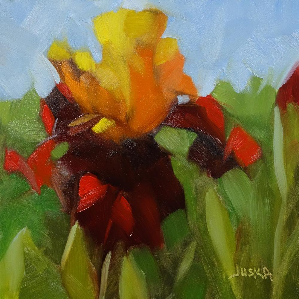 """Iris - Red & Orange"" original fine art by Elaine Juska Joseph"