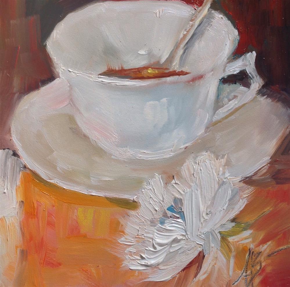 """""""White cup tea time"""" original fine art by Annette Balesteri"""