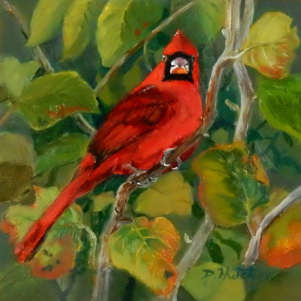 """Cardinal"" original fine art by Diane Hutchinson"