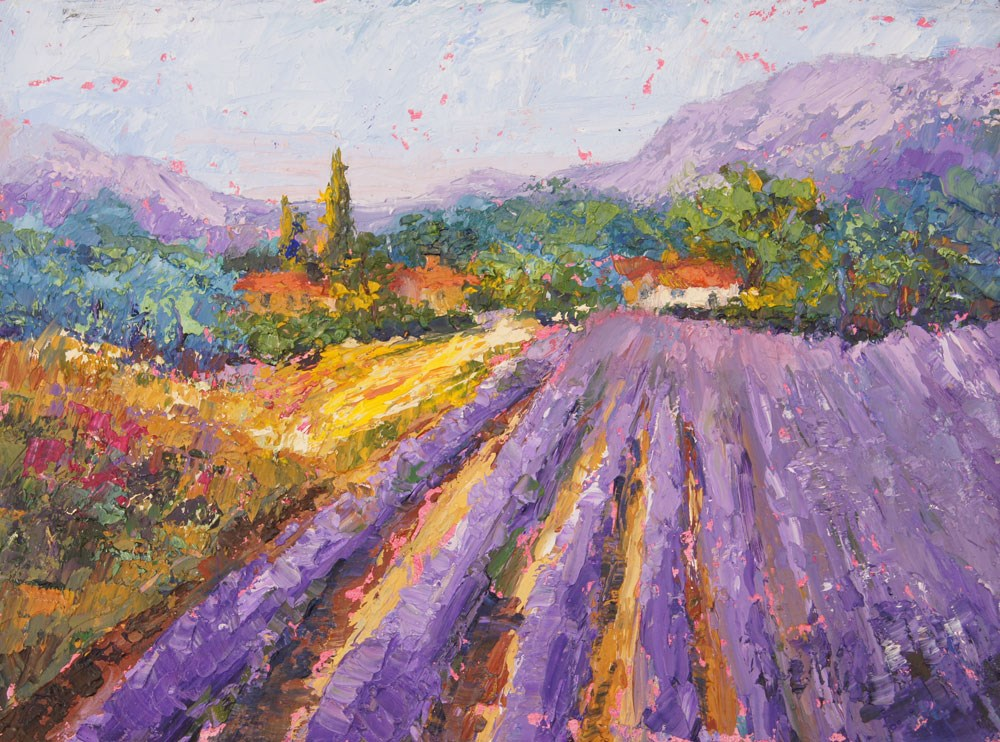 """Lavender Haze Provence oil painting"" original fine art by Marion Hedger"