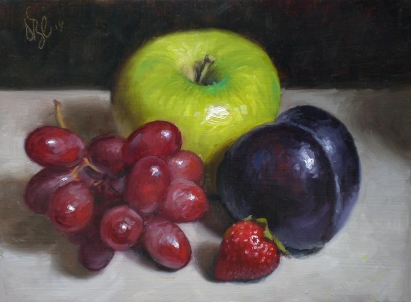 """Plum, Apple and Grapes"" original fine art by Debra Becks Cooper"
