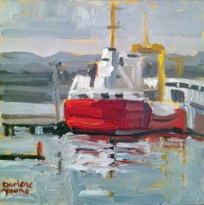 """Coast Guard Boat, oil on canvas board, 6x6"" original fine art by Darlene Young"