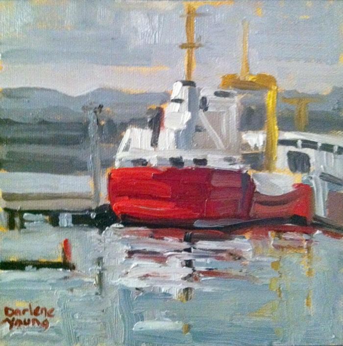 Coast Guard Boat, oil on canvas board, 6x6 original fine art by Darlene Young