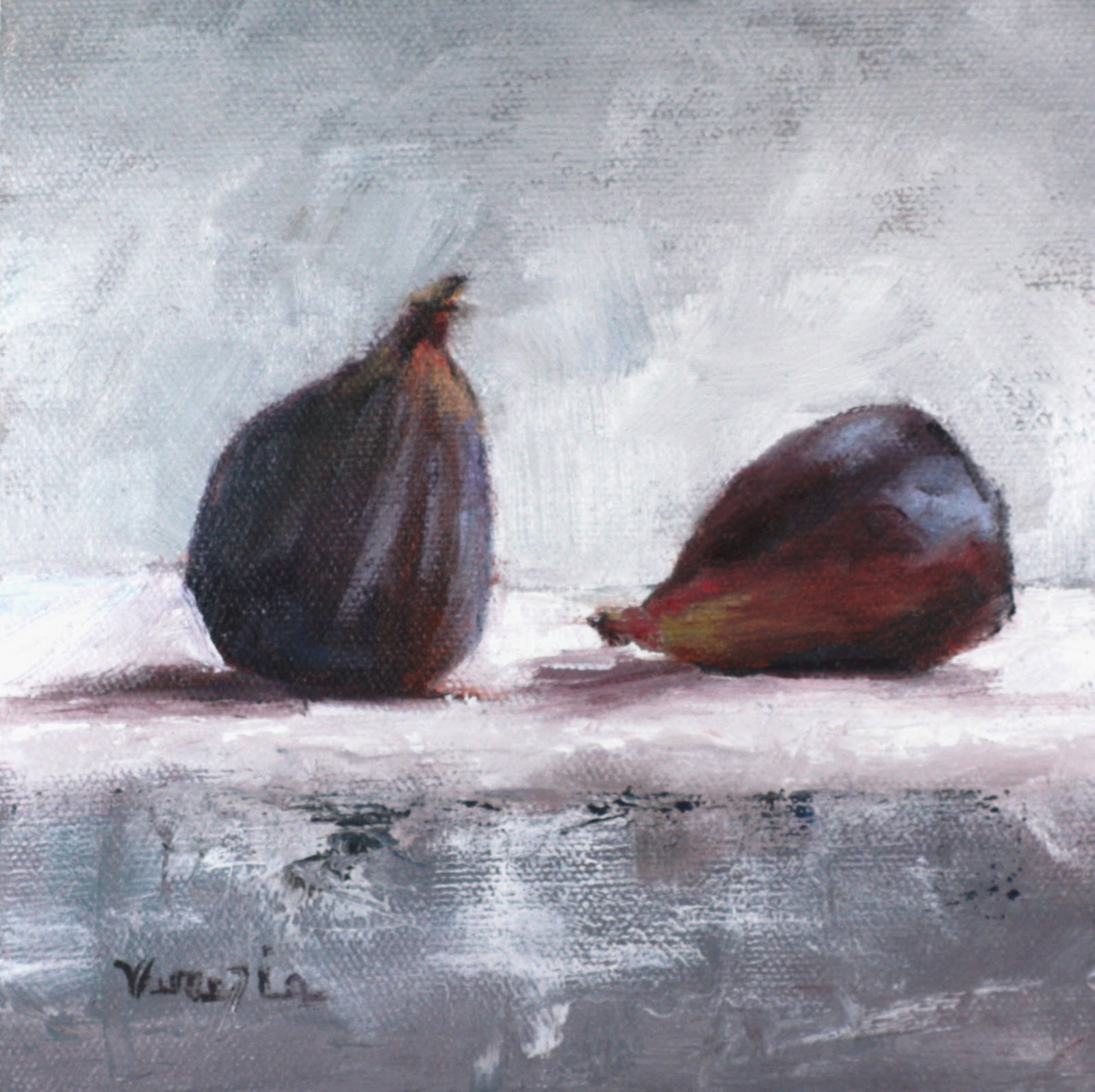 """still life painting with two figs"" original fine art by Carrie Venezia"