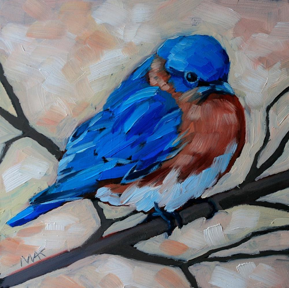 """Bluebird and Branch"" original fine art by Mary Anne Cary"