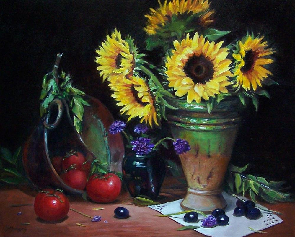 """Sunflowers and Tomatoes"" original fine art by Donna Munsch"