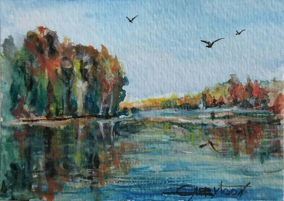 """Landscape ACEO"" original fine art by Gabriella DeLamater"