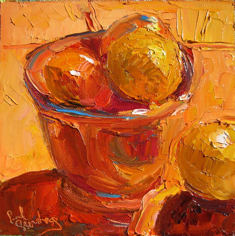 """Clementines in Persimmon Bowl"" original fine art by Carol Steinberg"