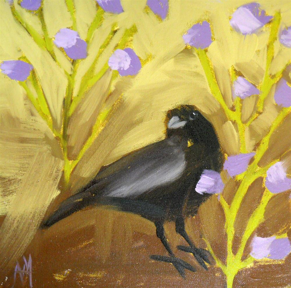crow and purple flowers original fine art by Angela Moulton