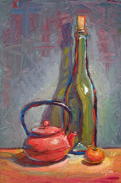 """Wine, Tea, Tangerine, Still Life"" original fine art by Raymond Logan"