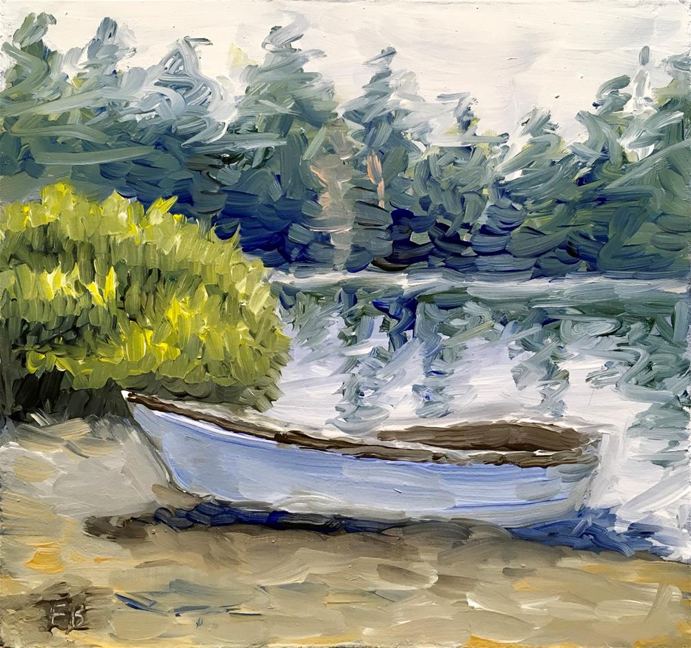 """110 Rowboat at Shore"" original fine art by Fred Bell"