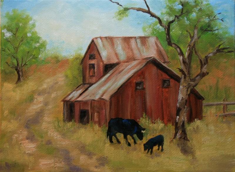 """Cows"" original fine art by Jean Nelson"