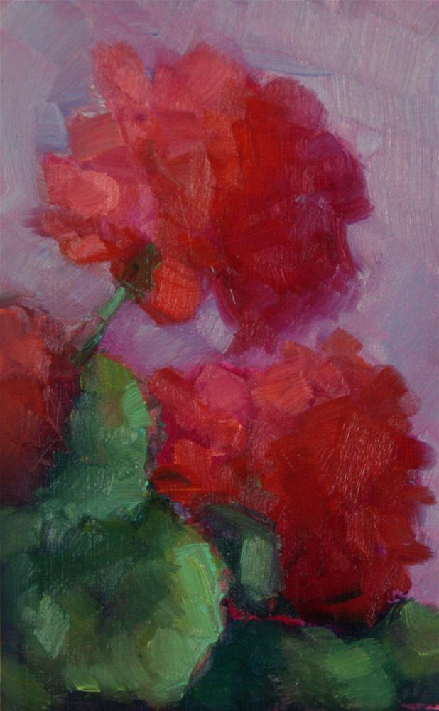"""Red Geraniums"" original fine art by Carol Josefiak"