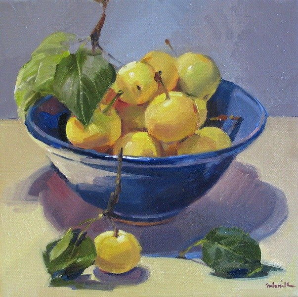 """Asian Pears fruit food kitchen wall art still life daily painting original oil"" original fine art by Sarah Sedwick"