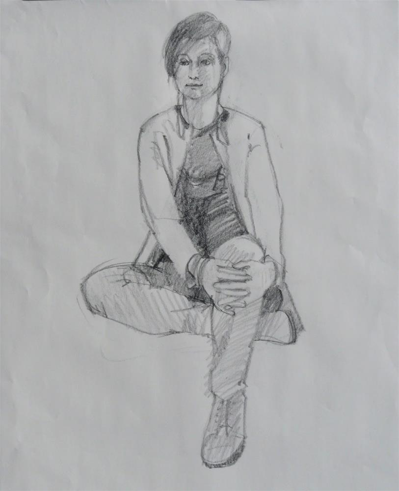 """Model,figure,graphite drawing on paper,24x18,price$200"" original fine art by Joy Olney"