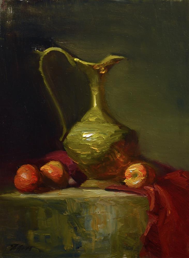"""Nectarines and Brass"" original fine art by Kelli Folsom"