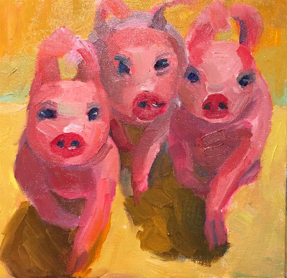"""Running of the Piggies"" original fine art by Marcia Bergtholdt"