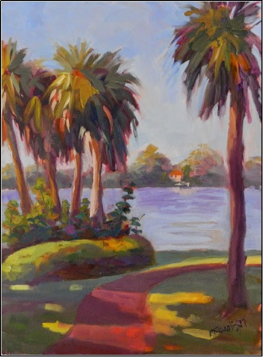 """Chilly in the Shade, 11x14, plein air, Bay Preserve, palm trees, Intracoastal waterway, Florida ar"" original fine art by Maryanne Jacobsen"