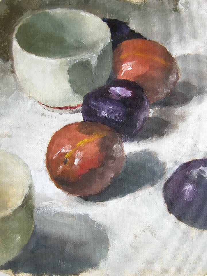 """Cup and Plums"" original fine art by Richard Jones"