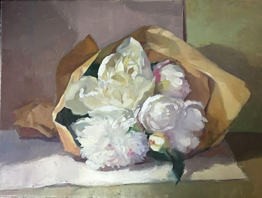 """Evening Peony Posy"" original fine art by Myriam Kin-Yee"